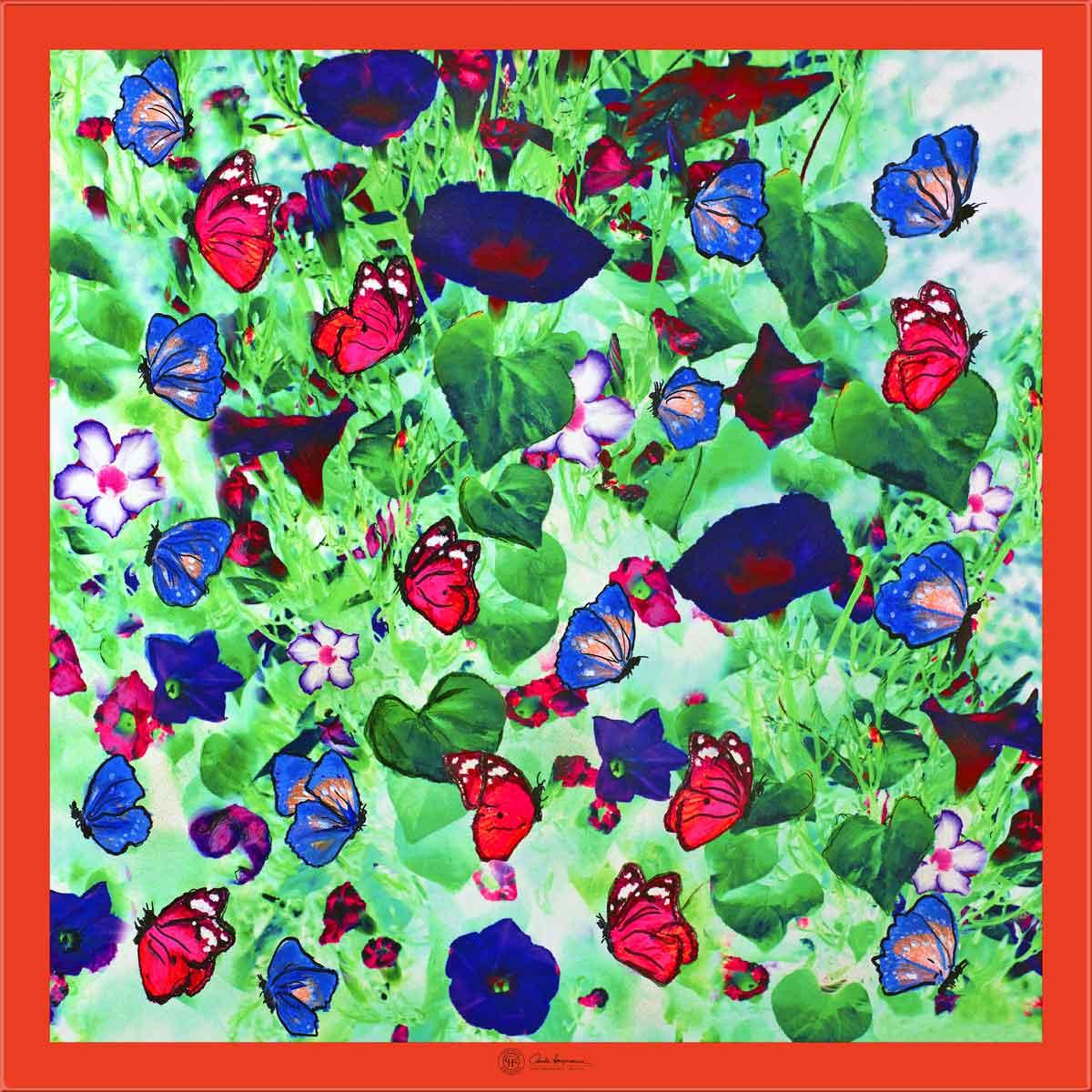 Cornelia Hagmann Contemporary Artist La Galleria Silk Scarf Butterfly Red, Seidenschal, sciarpa di seta, foulard soie,