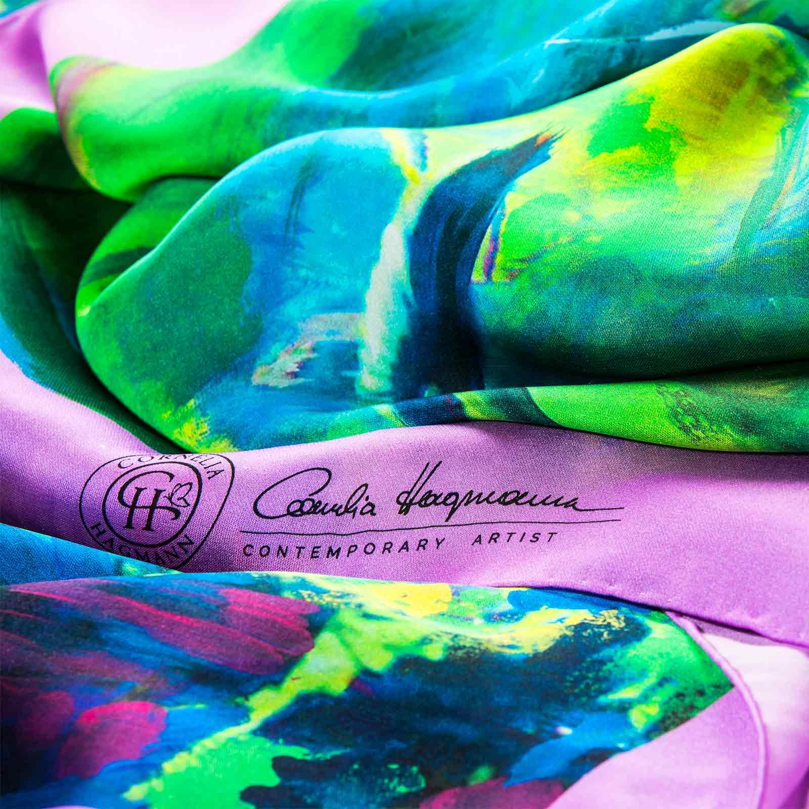 Cornelia Hagmann Contemporary Artist La Galleria Silk Scarf Green Pond Rosee, Seidenschal, sciarpa di seta, foulard soie,