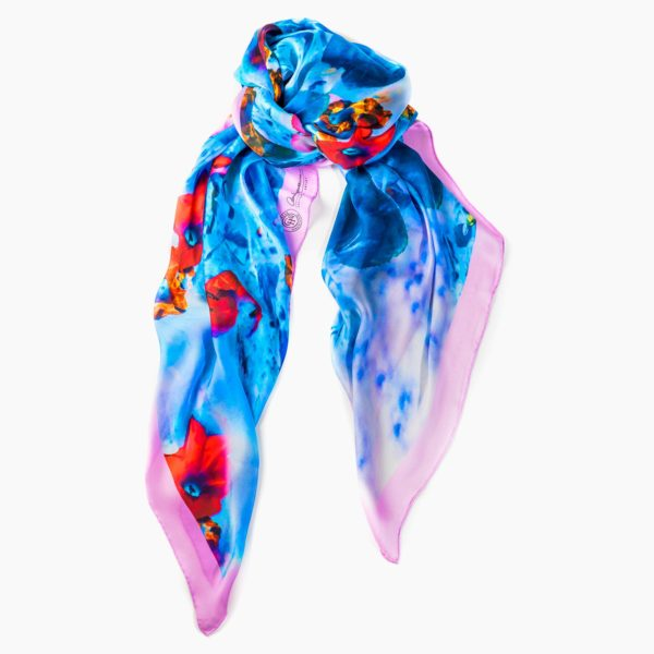 Cornelia Hagmann Contemporary Artist La Galleria Silk Scarf Miracle Flowers Pink, Seidenschal, sciarpa di seta, foulard soie,