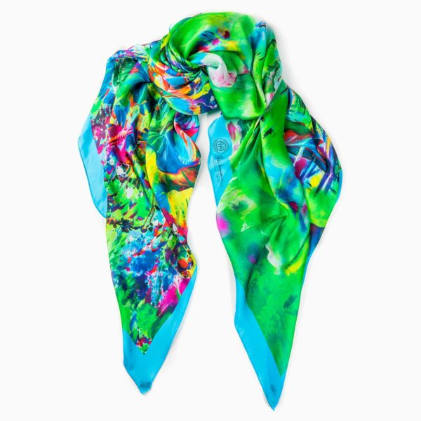 Cornelia Hagmann Contemporary Artist La Galleria Silk Scarf The Majesty of Colours Blue, Seidenschal, sciarpa di seta, foulard soie,