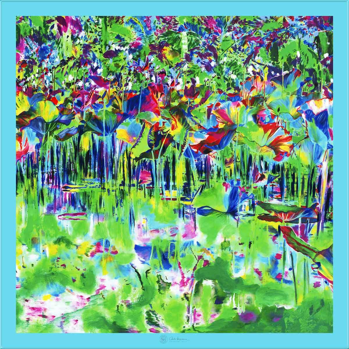 Cornelia Hagmann Contemporary Artist La Galleria Silk Scarf The Majesty of Colours Blue, Seidenschal, sciarpa di seta, foulard soie,