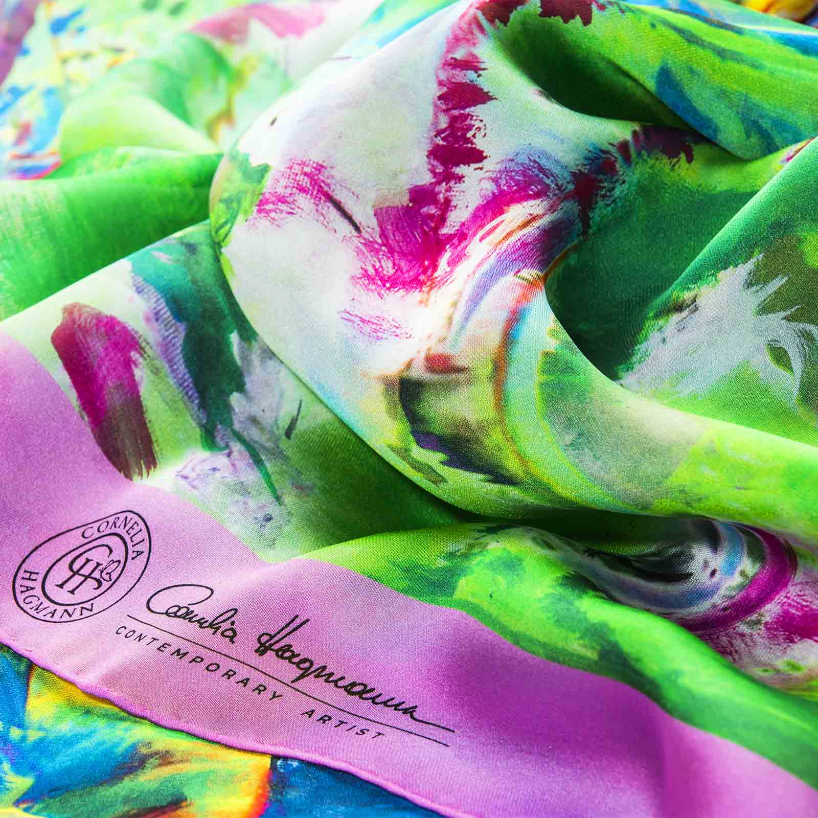 Cornelia Hagmann Contemporary Artist La Galleria Silk Scarf The Majesty of Colours Pink, Seidenschal, sciarpa di seta, foulard soie,