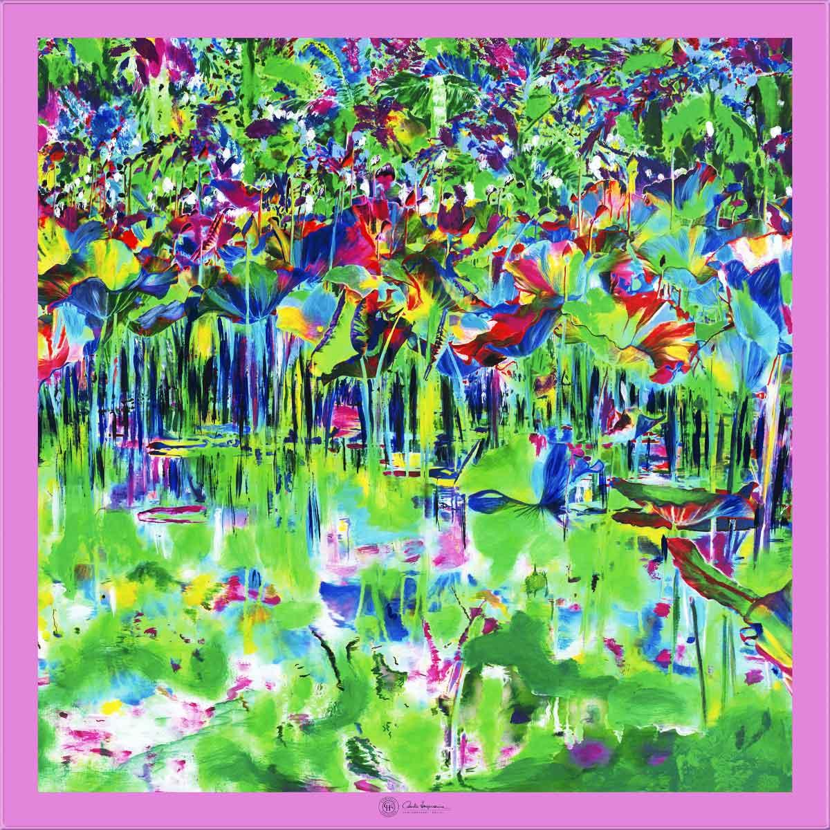 Cornelia Hagmann Silk Scarf The Majesty of Colours Pink La Galleria Art and Design, Seidenschal, sciarpa di seta, foulard soie,