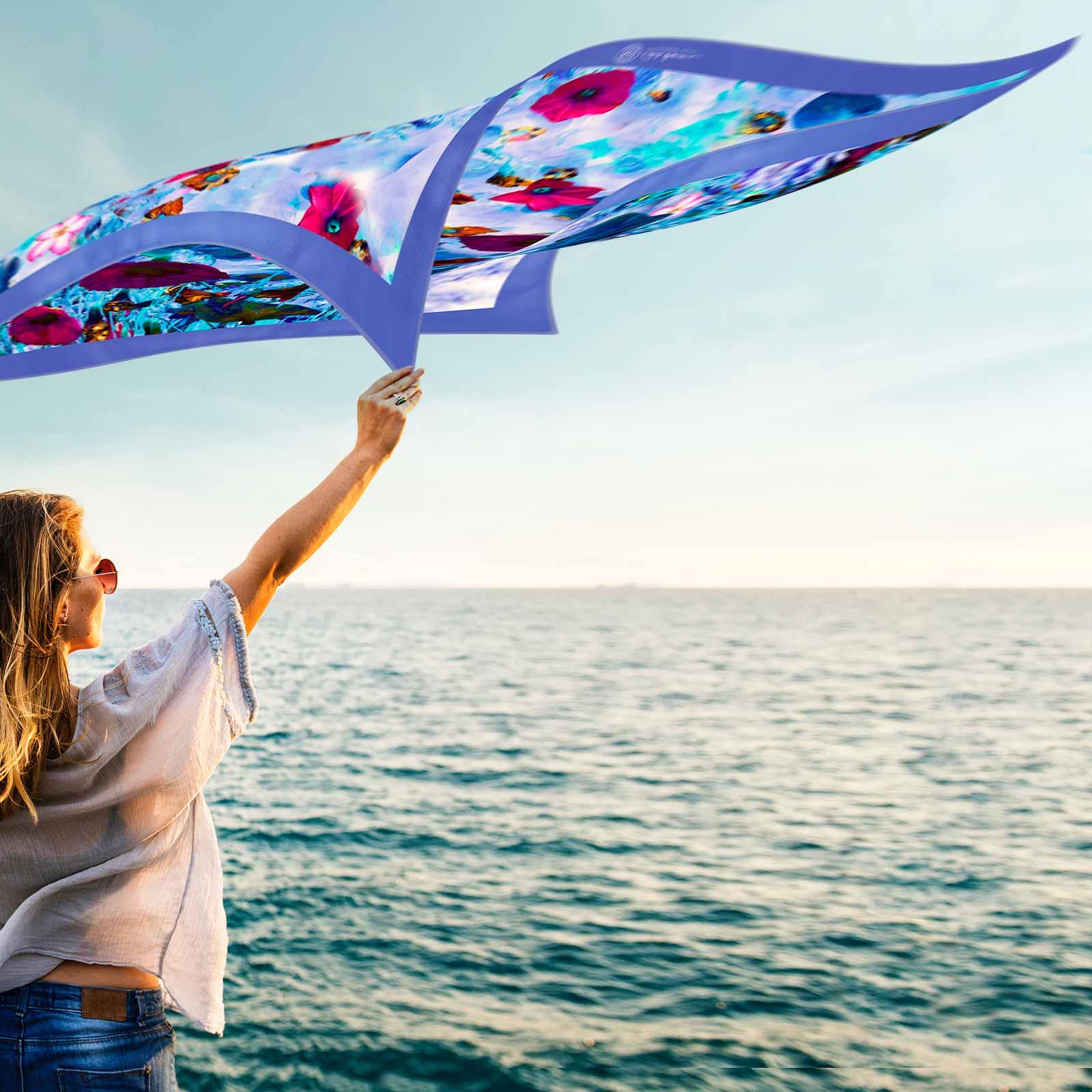 Cornelia Hagman Silk Scarf Sea Wind Woman, Seidenschal, sciarpa di seta, foulard soie,