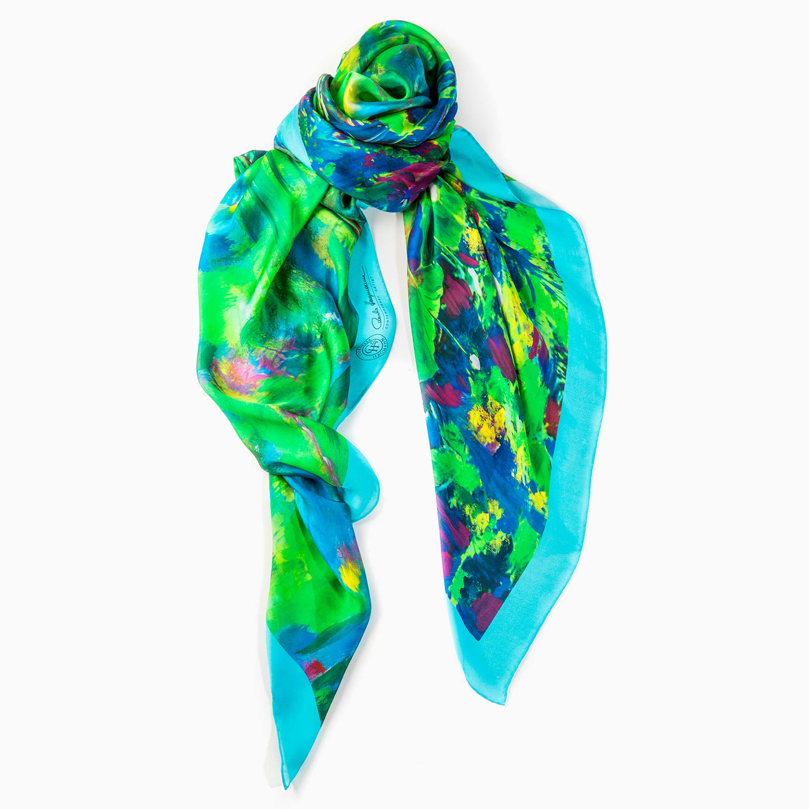 Cornelia Hagmann Contemporary Artist La Galleria Silk Scarf Green Pond Turquoise, Seidenschal, sciarpa di seta, foulard soie,