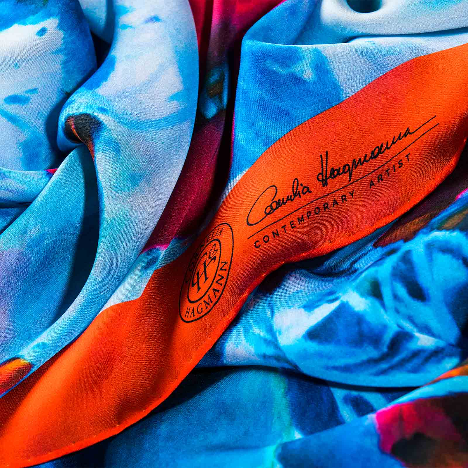 Cornelia Hagmann Contemporary Artist La Galleria Silk Scarf Miracle Flowers Red, Seidenschal, sciarpa di seta, foulard soie,