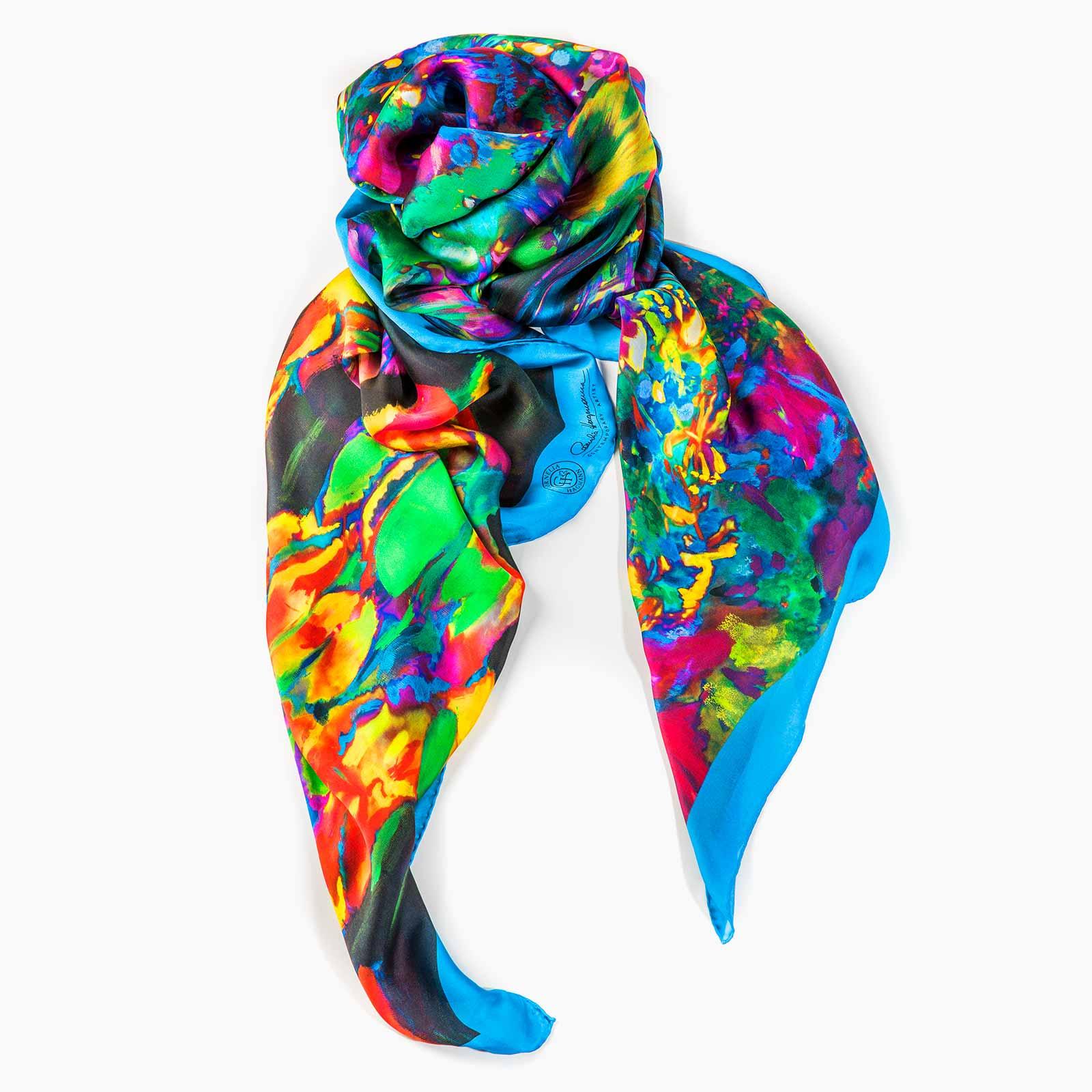 Cornelia Hagmann Contemporary Artist La Galleria Silk Scarf Peace Blue, Seidenschal, sciarpa di seta, foulard soie,