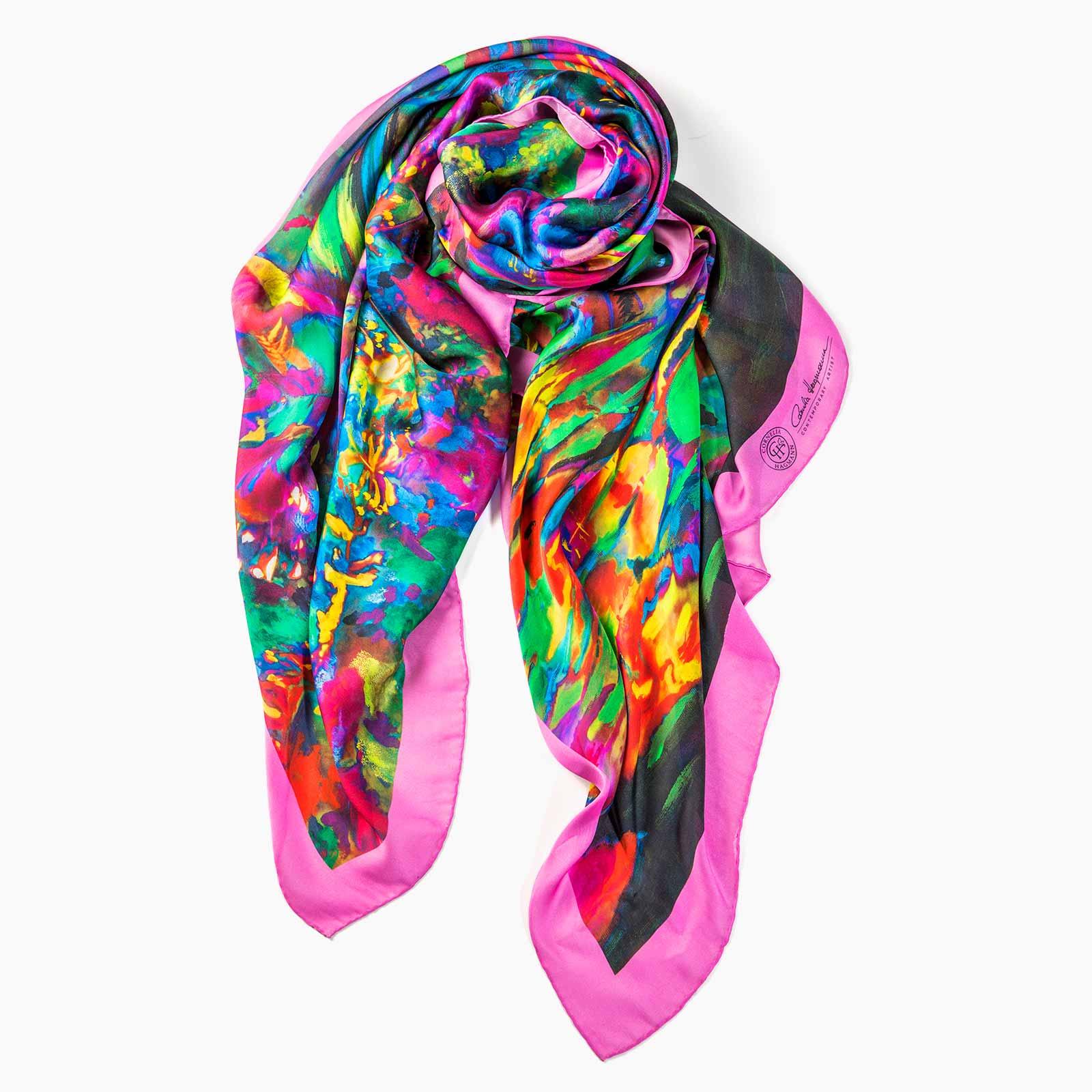 Cornelia Hagmann Contemporary Artist La Galleria Silk Scarf Peace Rosee, Seidenschal, sciarpa di seta, foulard soie,