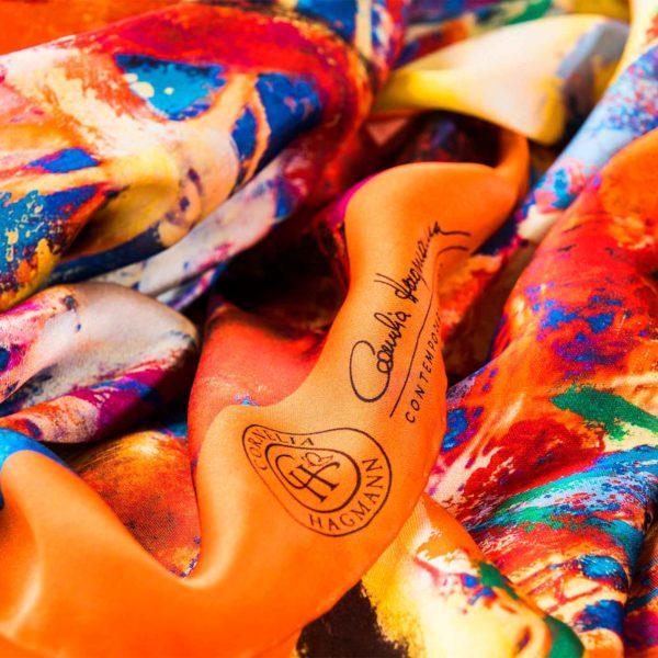 Cornelia Hagmann Contemporary Artist La Galleria Silk Scarf Talking Trees Peach, Seidenschal, sciarpa di seta, foulard soie,