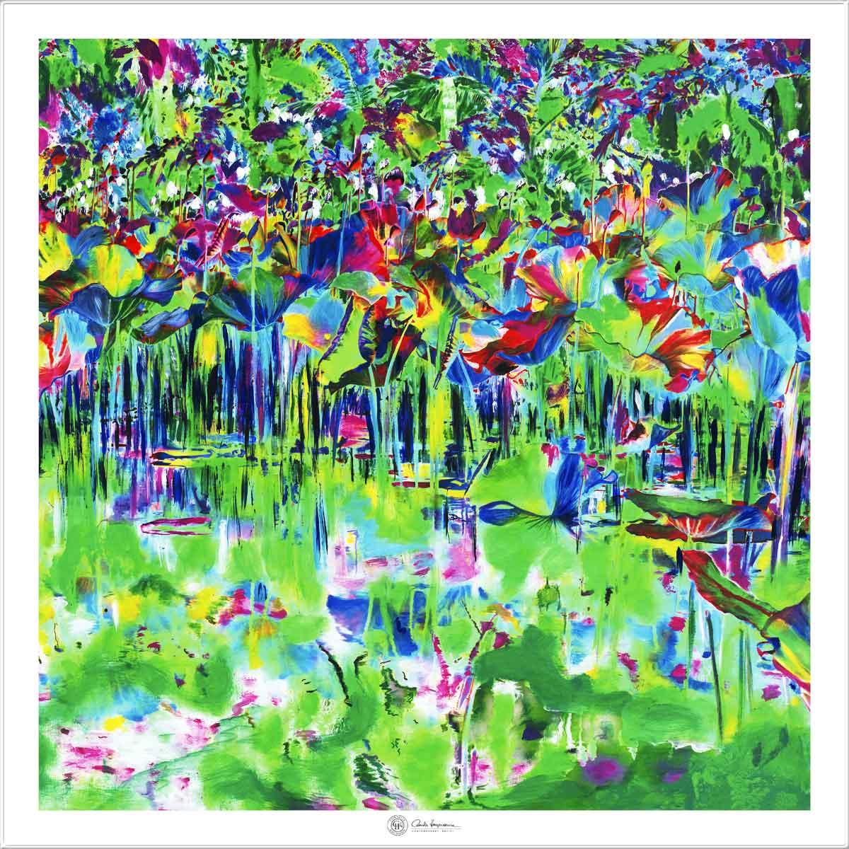 Cornelia Hagmann Silk Scarf The Majesty of Colours White La Galleria Art and Design, Seidenschal, sciarpa di seta, foulard soie,